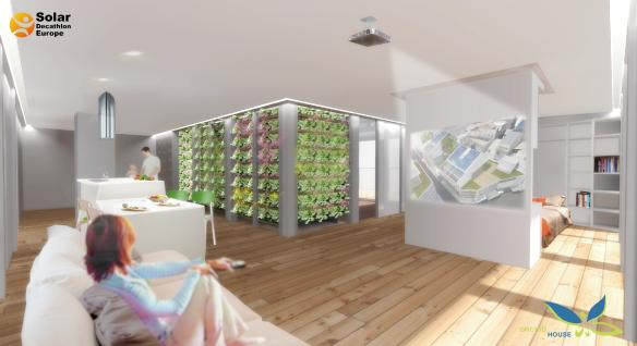 """The """"Green Core"""" is walled with vegetation to assist with cooling in the summer and encloses a staircase leading up to a mezzanine"""