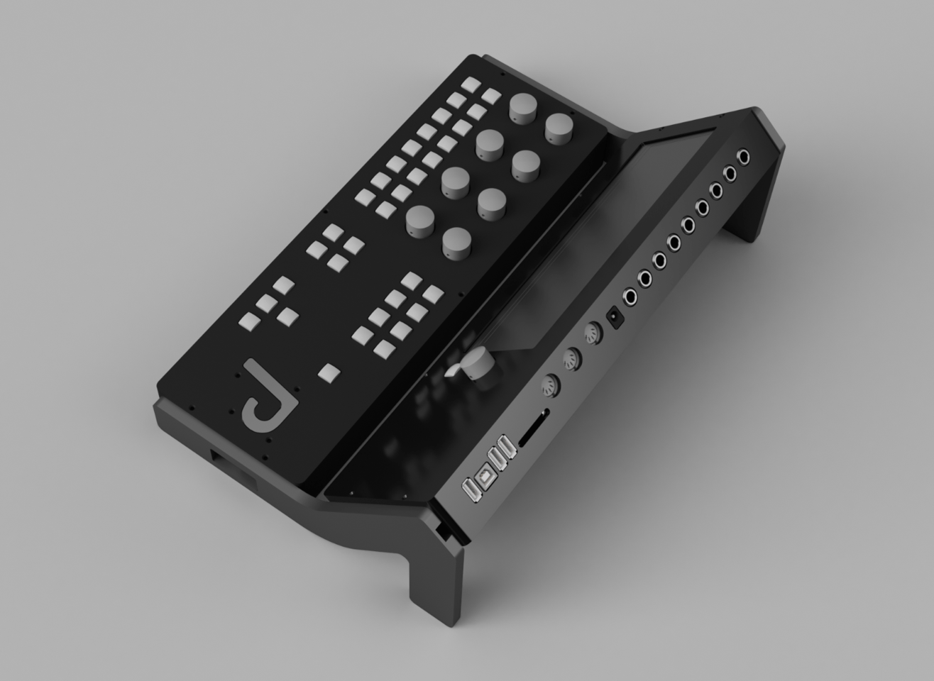 The Synthor System 8's Engine module has MIDI and USB ports, and an SD slot