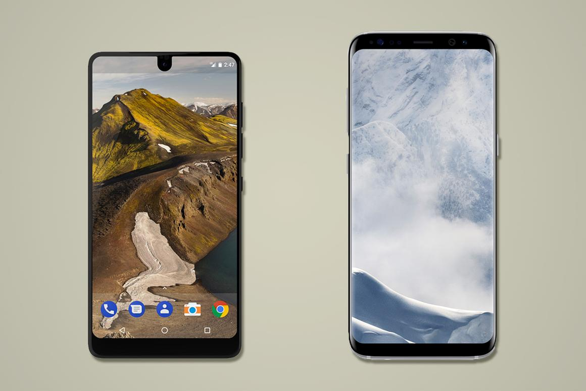 Here's how the Essential Phone, created by one of the co-creators of Android, compares to the Samsung Galaxy S8 and S8+, the current top-of-the-line Android flagships