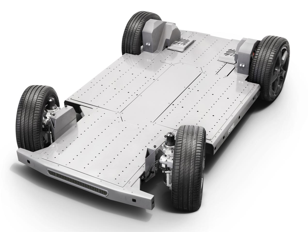 The entire base of the remarkable REE chassis is the battery, and the compact, removable corner modules contain the entire drivetrain, including the wheels, motors, brakes, steering, suspension and more