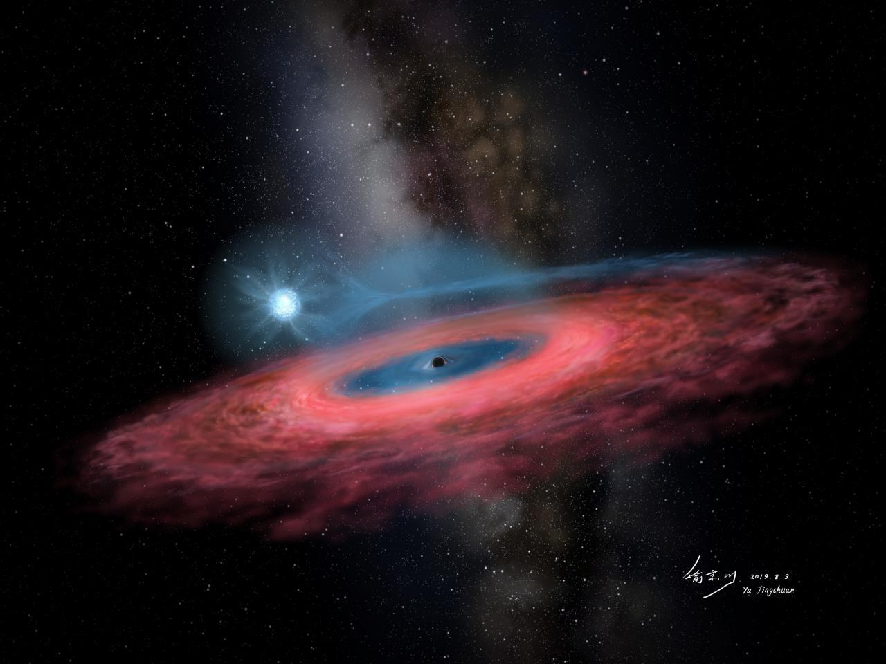 An artist's impression of LB-1, along with its binary star companion