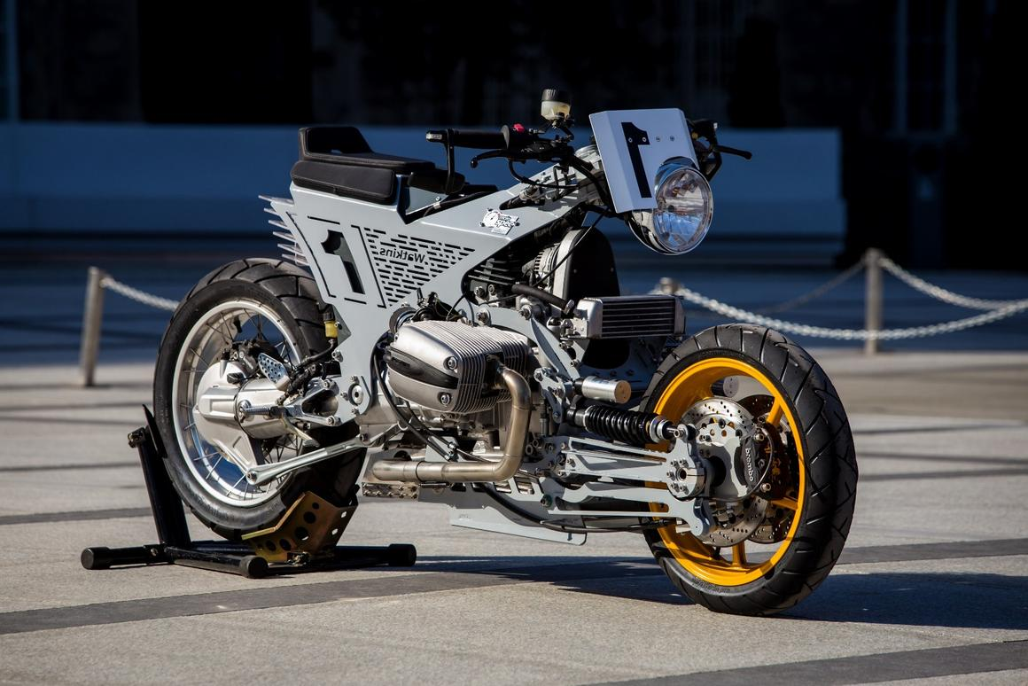 Watkins M001: started life as a BMW R1150RT but is now a wacky hub-steered custom creation