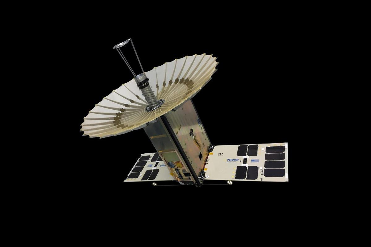 The RainCube 6U CubeSat with fully-deployed antenna