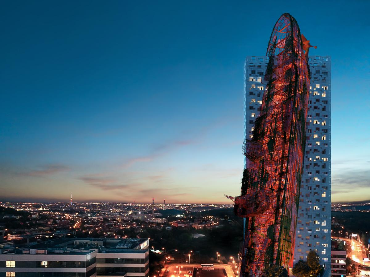 Top Tower was designed by Czech firm Black n´ Arch, with artist David Černý responsible for the massive shipwreck sculpture