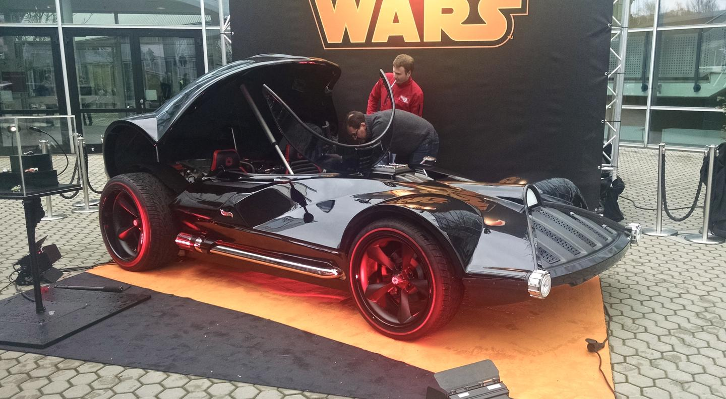 We originally saw the Hot Wheels Darth Vader car at SEMA 2014, but Nuremberg is the first time we see it the cockpit open (Photo: C.C. Weiss/Gizmag)