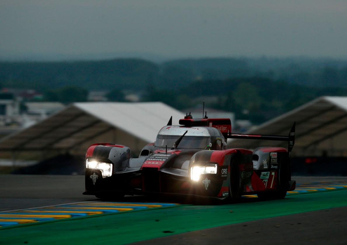 TheAudi R18 on its way round Le Mans