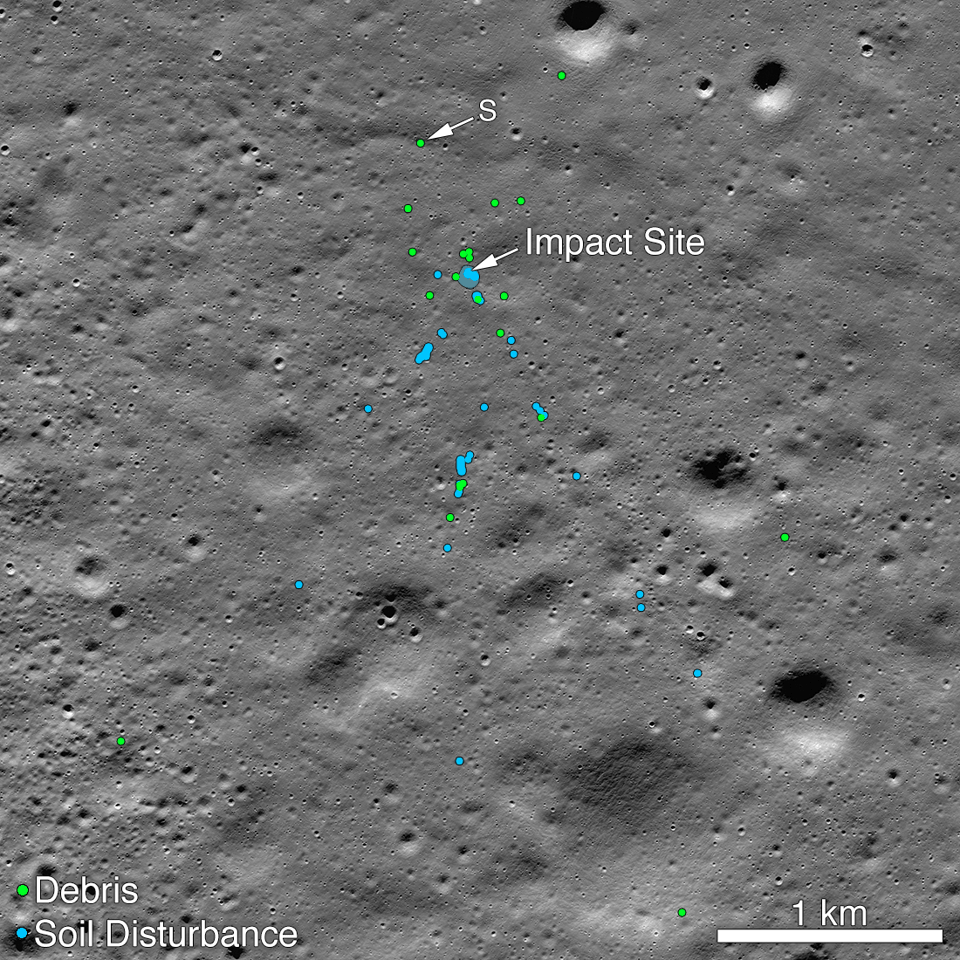 Image shows the crash site for India's Vikram lunar lander, with debris denoted in green and disturbed soil in blue