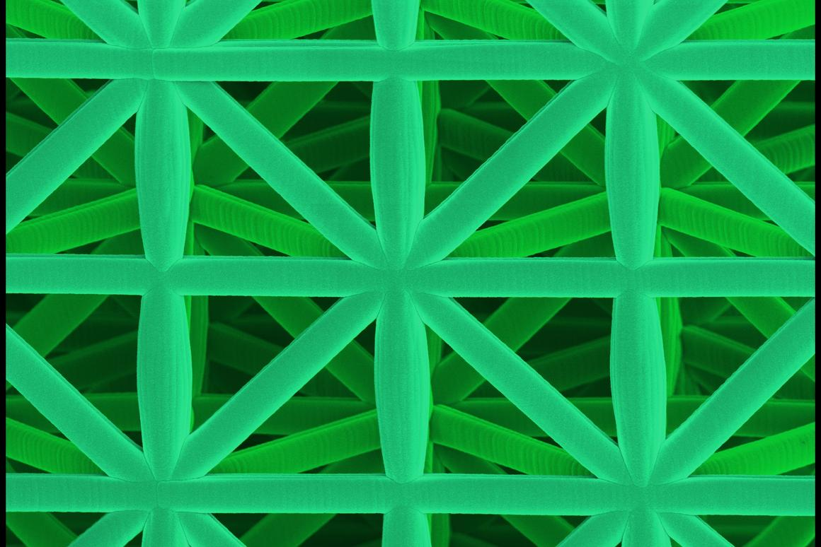 The framework construction made of a ceramic-polymer composite created at KIT (Picture: J. Bauer/KIT)