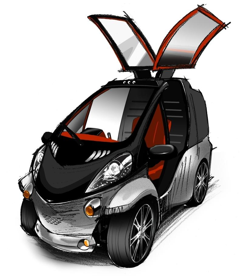 Conceptual image of the Toyota Smart Insect's gull-wing style doors
