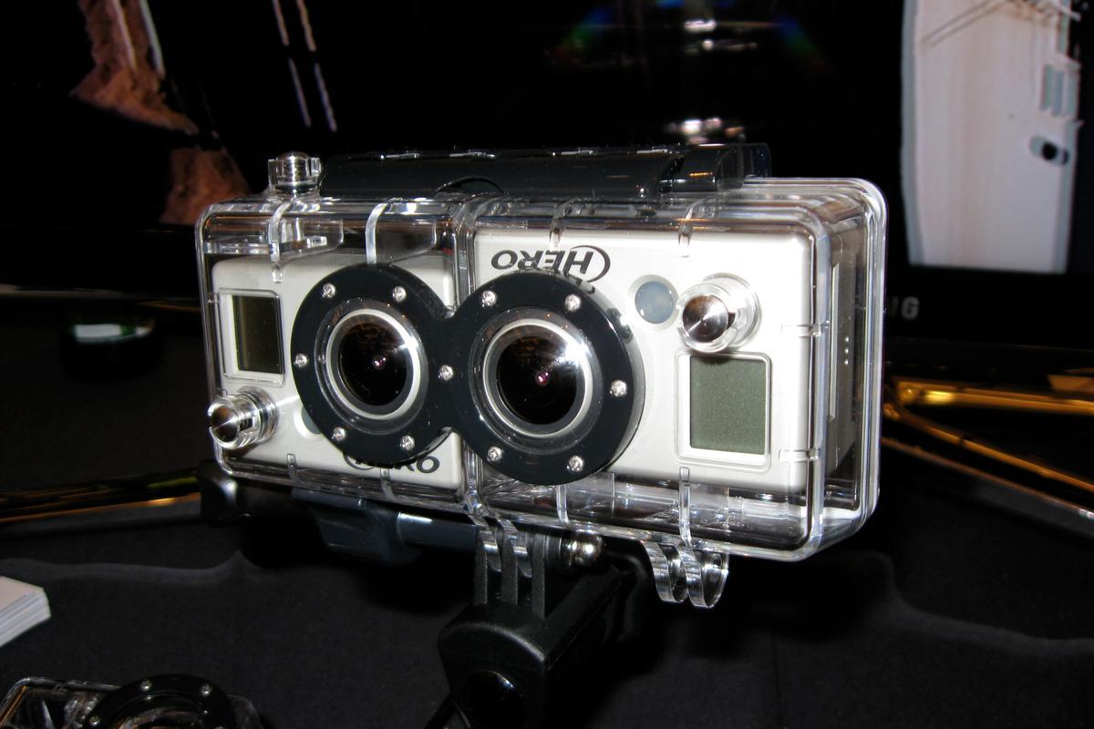 GoPro 3D HERO Expansion kit on display at CES 2011