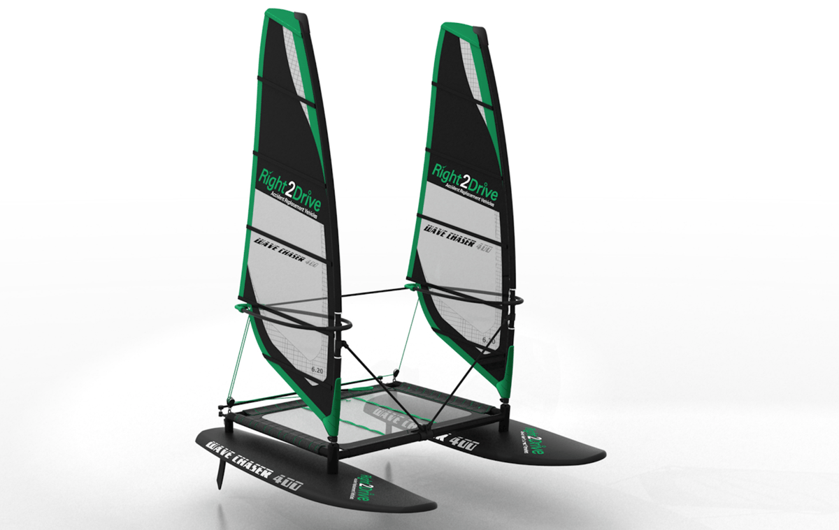 The Wave Chaser is designed to blend the best of catamaran and windsurfing design