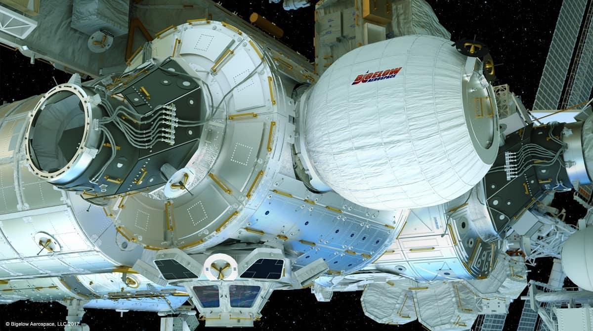 The Bigelow BEAM experimental inflatable habitat module being tested on the ISS