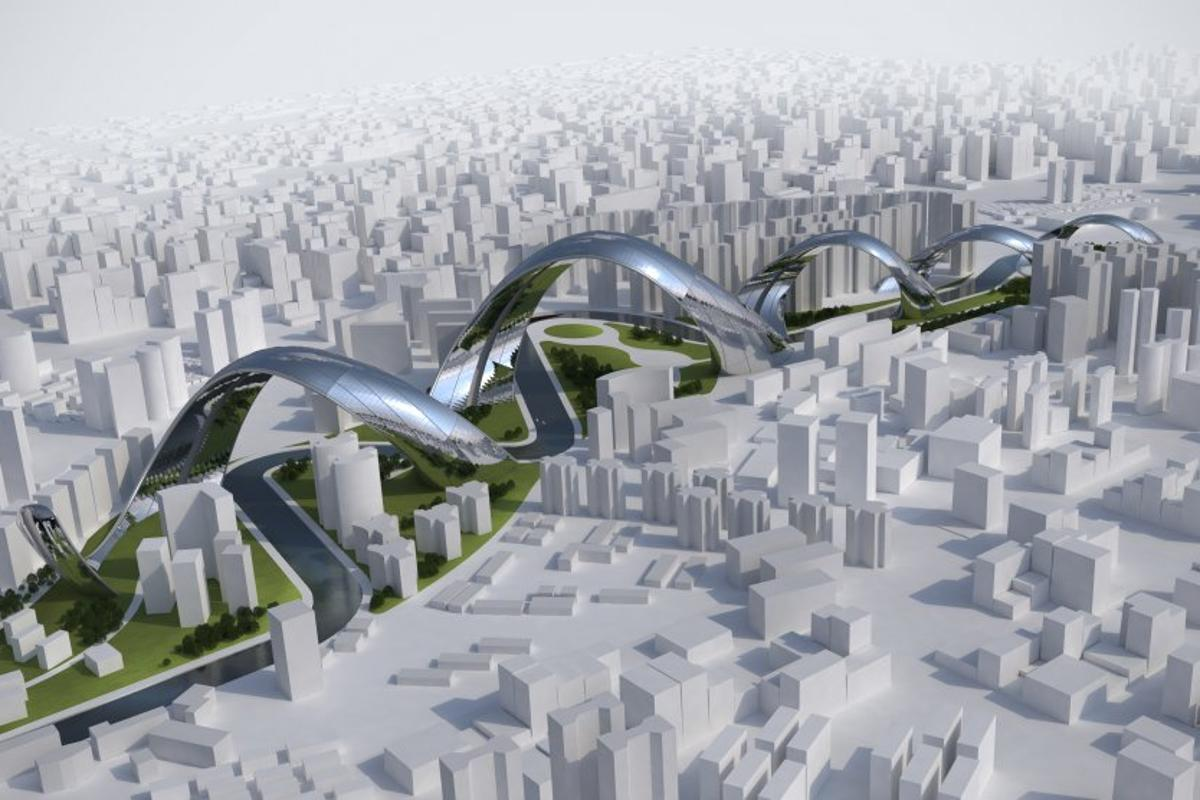 Sity - Shanghai city architectural concept designed to resemble a Chinese dragon