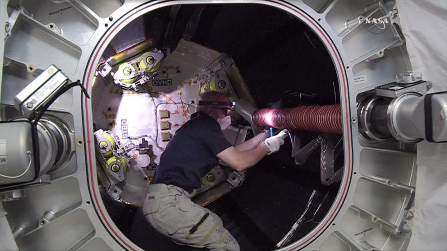 Astronaut Jeff Williams works inside the Bigelow Expandable Activity Module