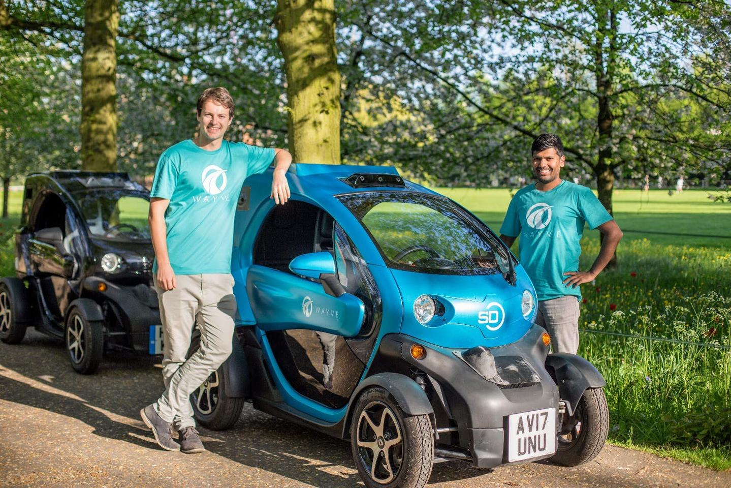 Wayve co-founders Alex Kendall and Amar Shah. Their fast-learning AI autonomous car is now doing short trips on unfamiliar roads in the UK.