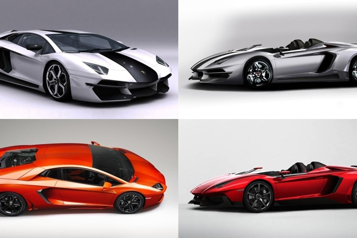 The Prindiville's Lamborghini Aventador and Aventador J versions are at top. The originals below them.