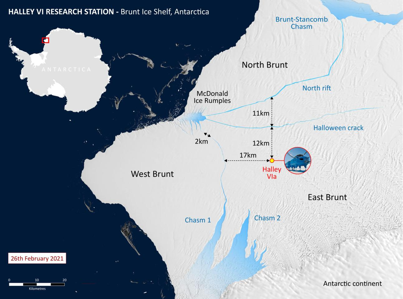Map of the Brunt Ice Shelf showing the relocation of the Halley station