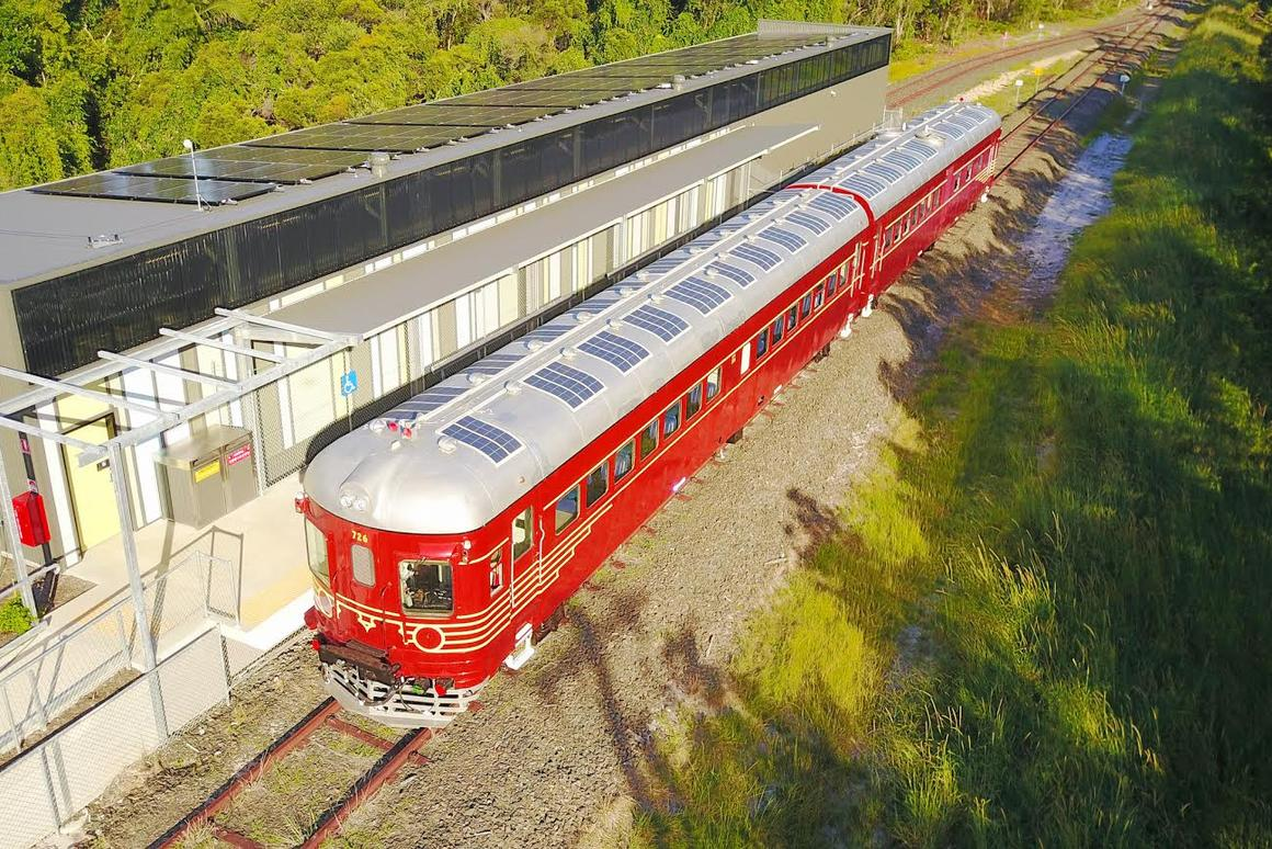 The world's first solar-powered trainwasfitted with custom-built curved solar panels