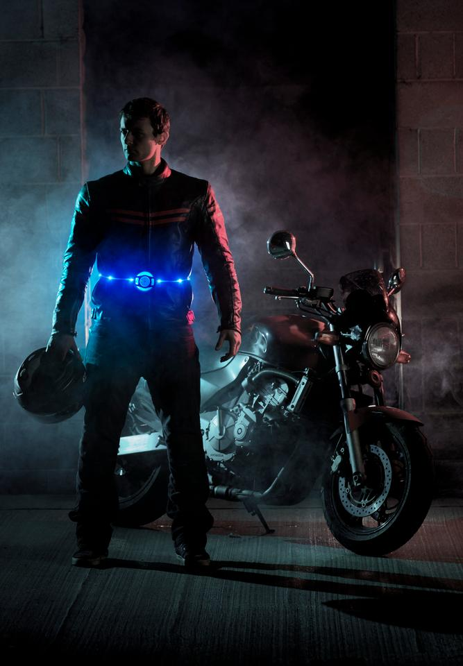 The Glowbelt is a retractable, one-size-fits-all belt covered in 13 micro LEDs to make its wearers more visible at night (Photo: BMC Innovations)