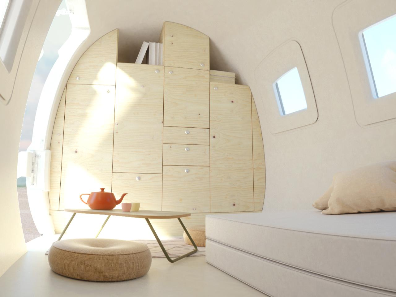 As standard, the Space by Ecocapsule's interior comes with a wooden floor and the storage space pictured