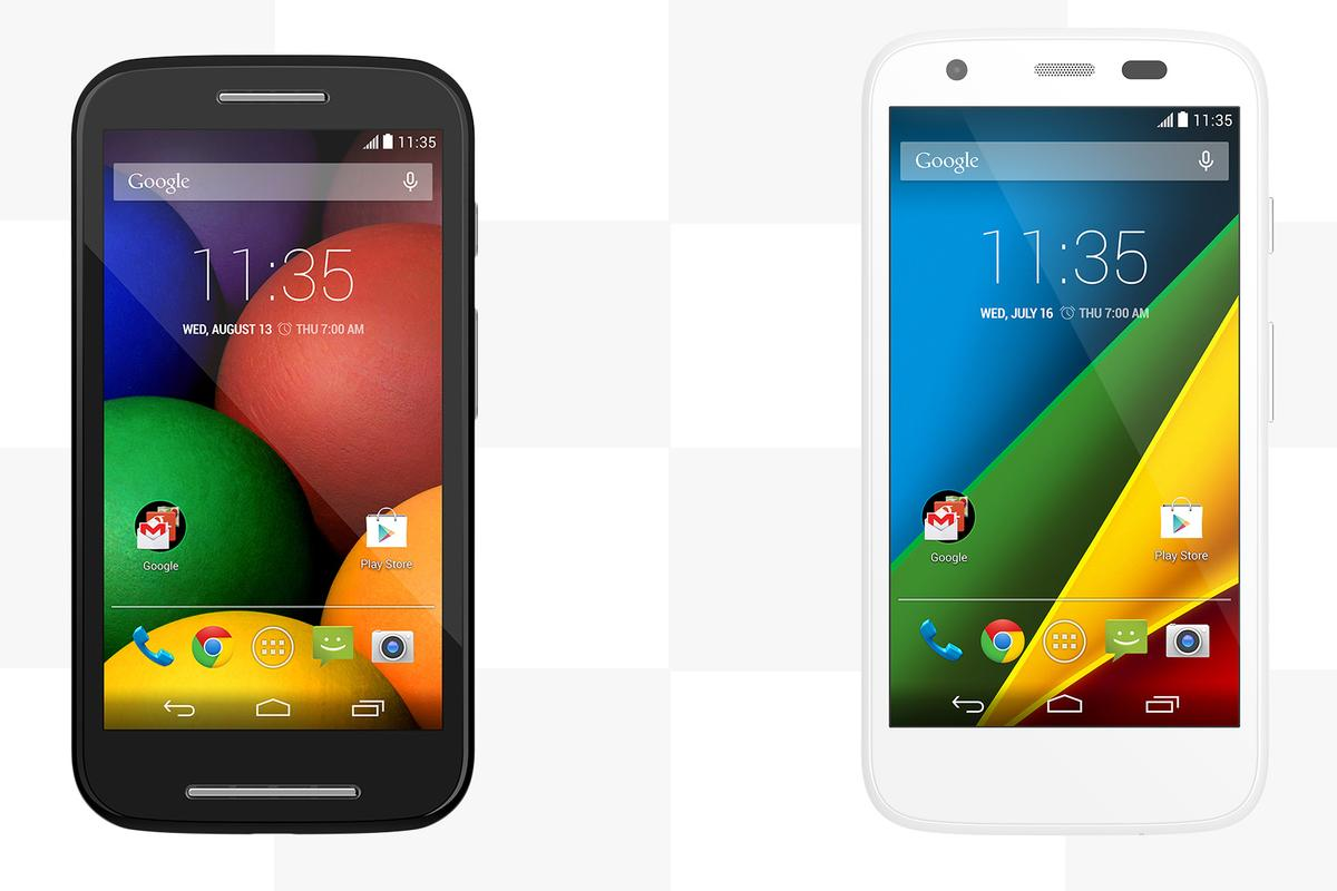 It's a sub-$200 smartphone showdown, as Gizmag compares the features and specs of the Motorola Moto E (left) and Moto G