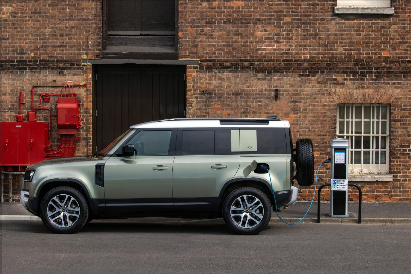 The new Land Rover Defender 400e takes just 30 minutes to charge to 80 percent when hooked up to a 50-kW fast charger