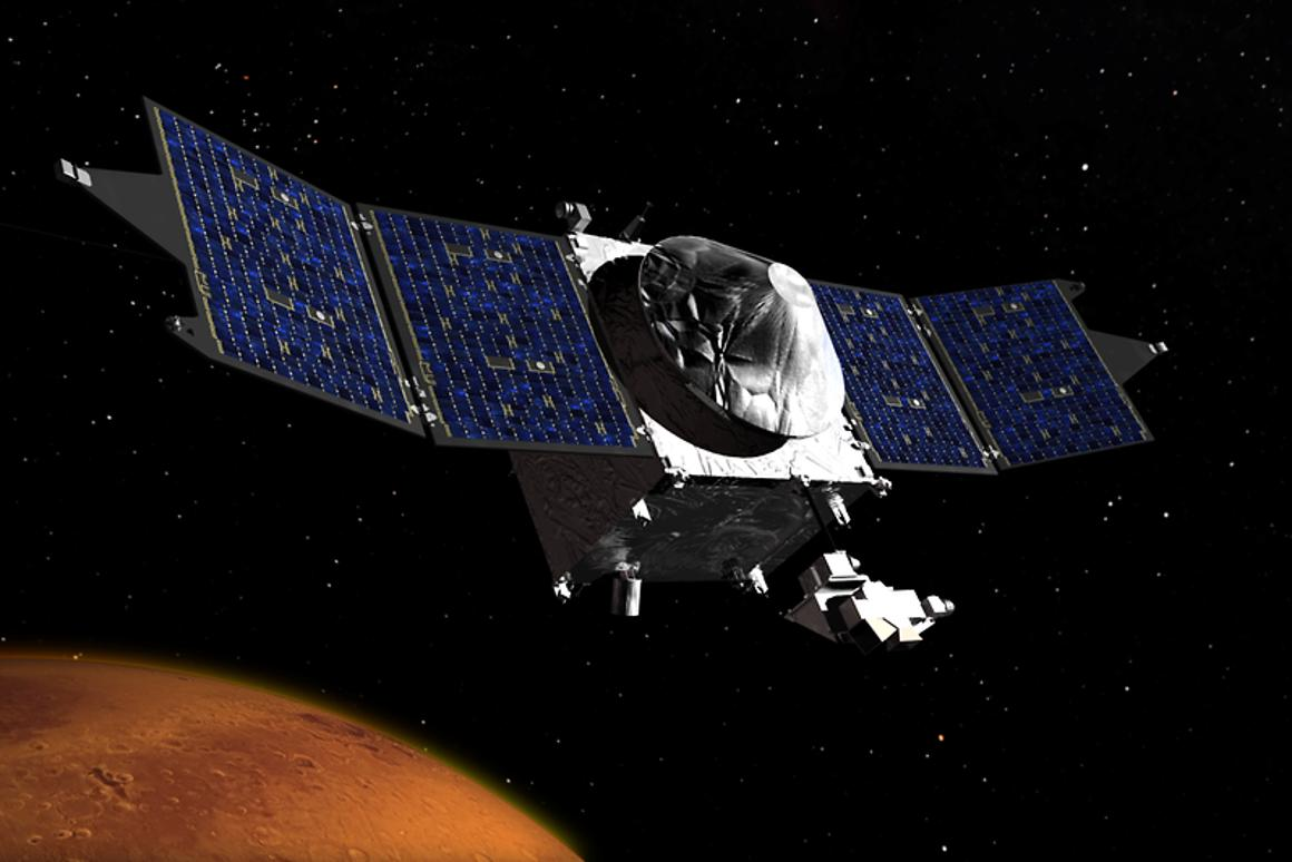Artist's impression of MAVEN orbiting the Red Planet (Image: NASA's Goddard Space Flight Center)