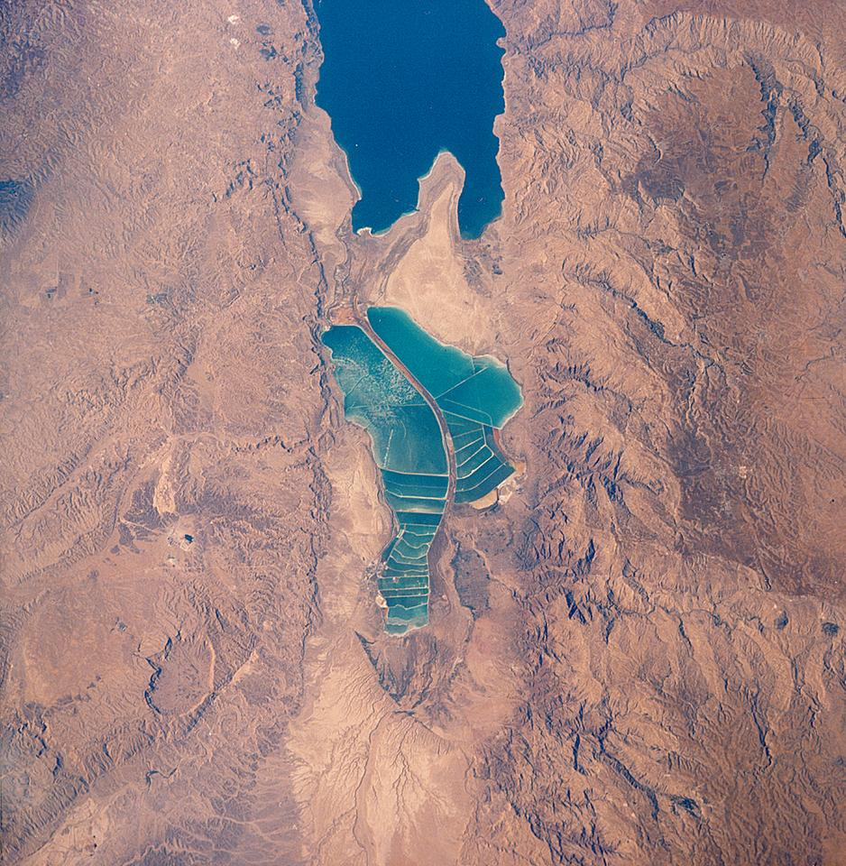 Evaporation ponds south of the Dead Sea taken from a Space Shuttle mission in 1989