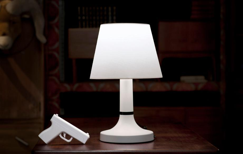 Keep the remote control gun by your bedside and you'll never have to get up to shut off the light