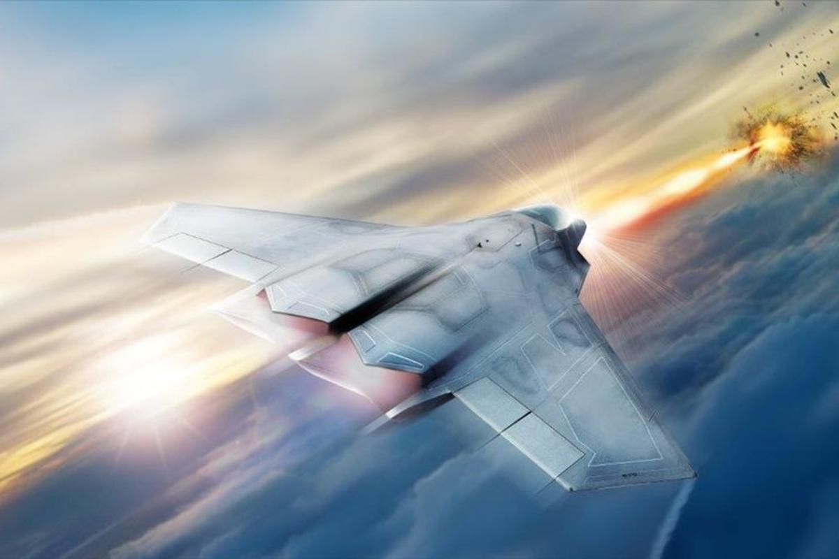 Artist's concept of fighter-mounted laser weapon