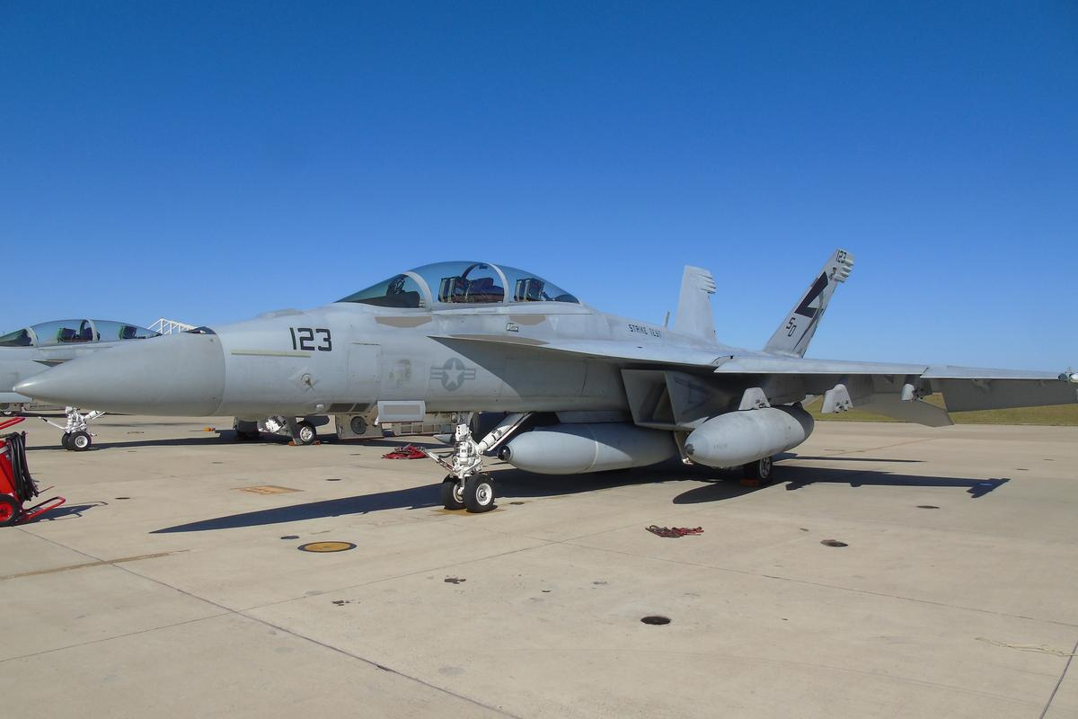 An F/A-18 Super Hornet equipped with a Block II Infrared Search and Track prepares for its first flight with the long-range sensor