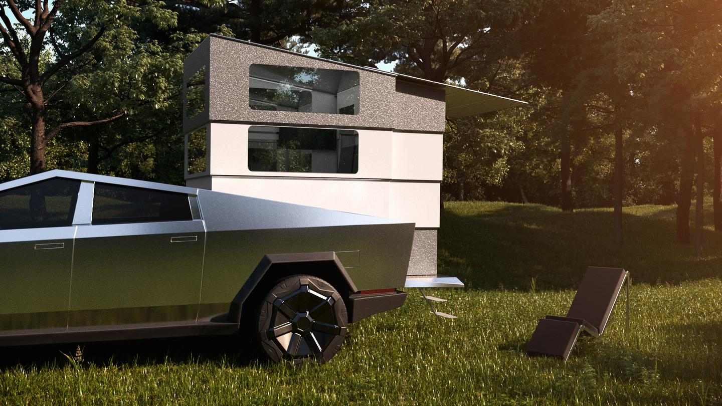 The CyberLndr pickup camper expands to turn the Tesla Cybertruck into a base camp