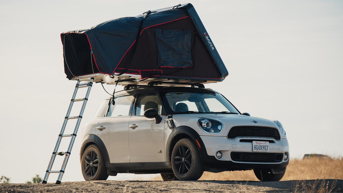 IKamper Mini expanding hardshell roof tent turns small car into camper