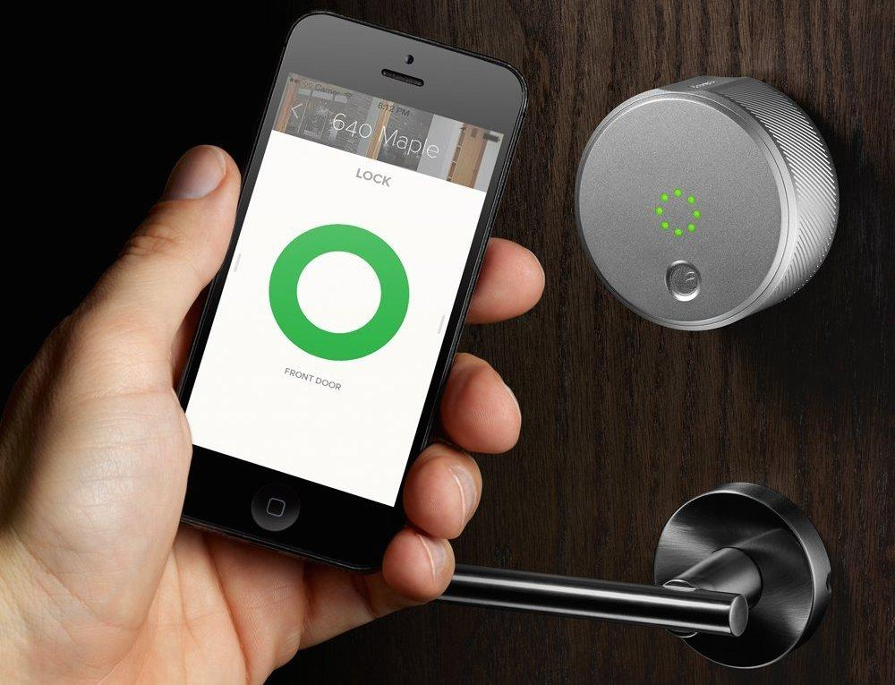 The August Smart Lock provides secure entry with a smartphone, and can be configured with multiple user accounts and temporary guest permissions