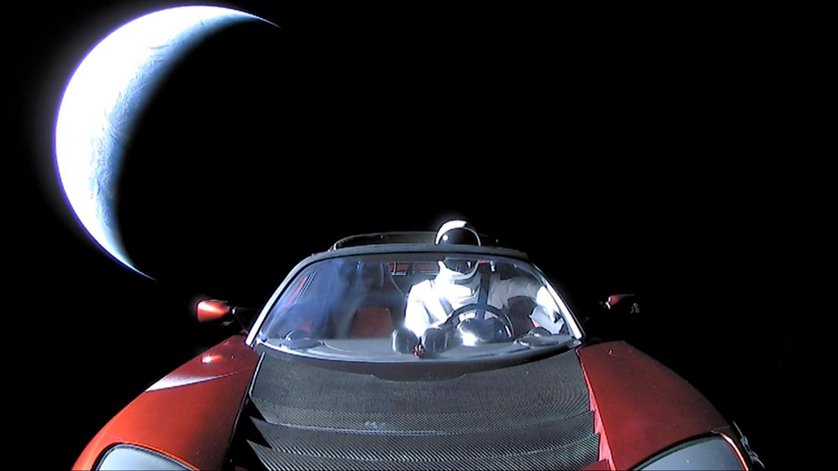 The last image sent back by the Tesla Roadster