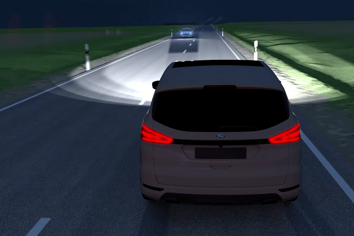The LED lights create a dark spot around cars that might otherwise be blinded