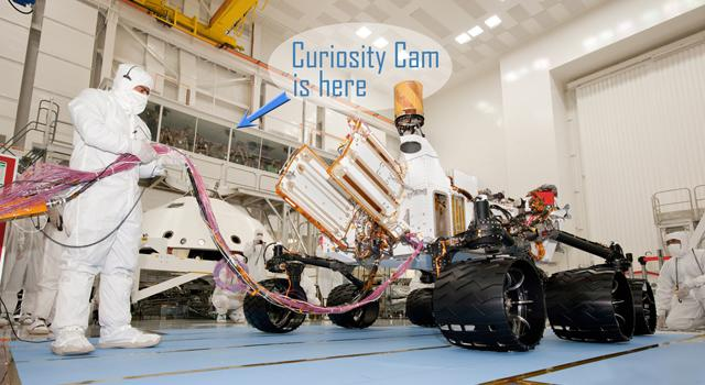 The Curiosity Cam live video feed allows the public to watch technicians assemble and test NASA's next Mars rover in a clean room at the Jet Propulsion Laboratory, Pasadena, Calif. (Image credit: NASA/JPL-CalTech)
