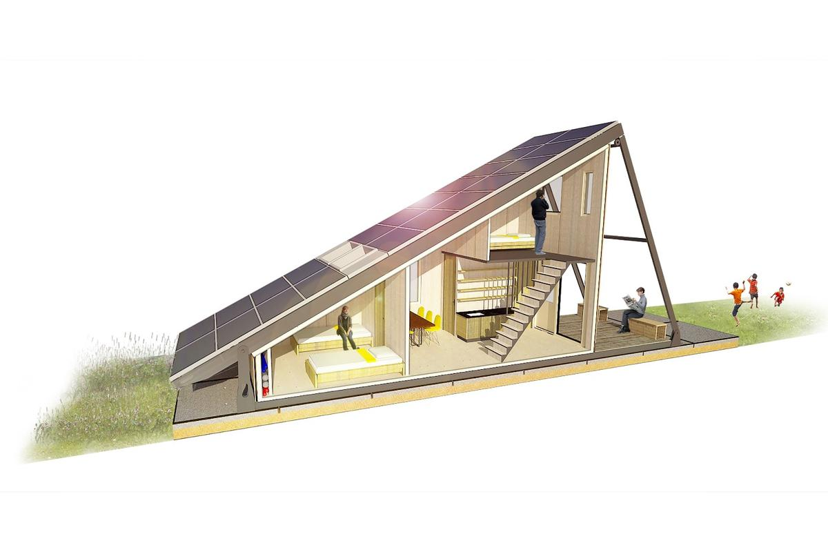 The shape of the structure is like that of a lean-to, with one large sloping face covered in solar panels