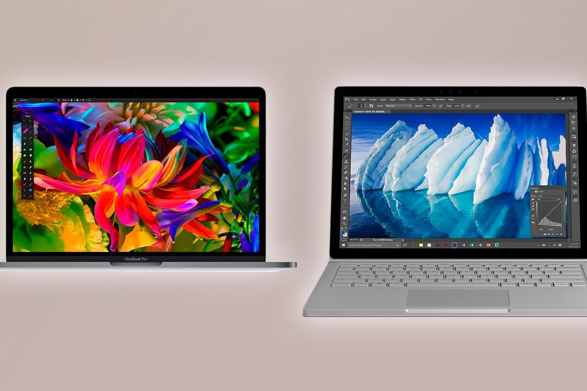 New Atlas compares the 13-inch MacBook Pros (2016) with the standard and Performance Base Microsoft Surface Books