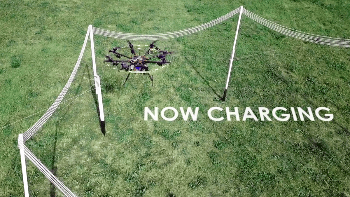 GET's in-flight charging stations could give industrial drones unlimited flight time –they just need to stop inside this induction loop for a few minutes to top up their batteries