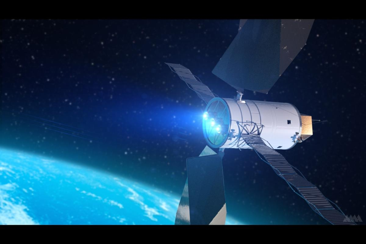 An artist's renderingof a solar-electric propulsion system that could some day be used for deep-space exploration