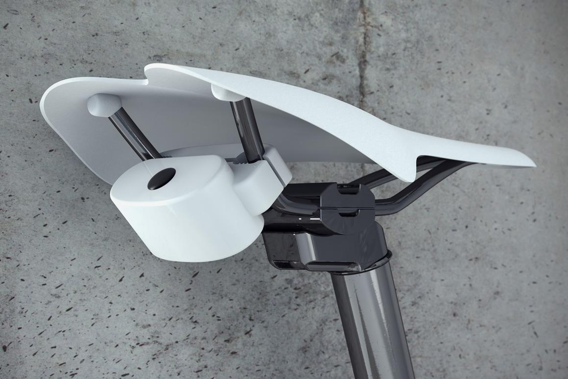 The RFID Bikealarm attaches to a saddle and emits a 120 dB alarm sound when it detects movement