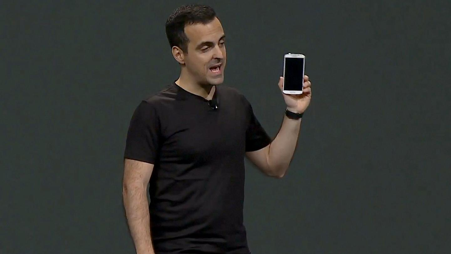 Hugo Barra, Google's VP of Android Product Management, with the GS4 Google edition at this week's Google I/O developer conference