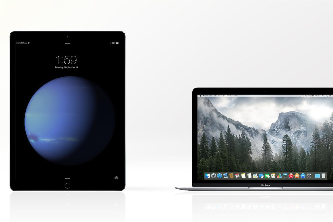"Gizmag compares the features and specs of the iPad Pro (left) and Apple's ""new MacBook)"""