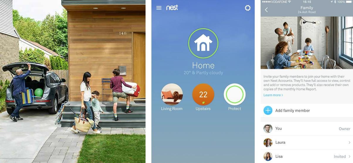 Family Accounts allow up to 10 people to access the Nest products in a home, while Home/Away Assist is aimed at automatically identifying if anyone is at home