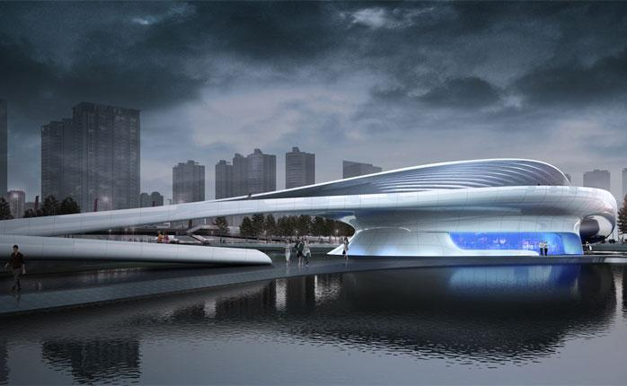 L & A Design Group has designed an iconic pedestrian bridge projected for Wuxi Xidong Central Park, China (image: L & A Design Group)