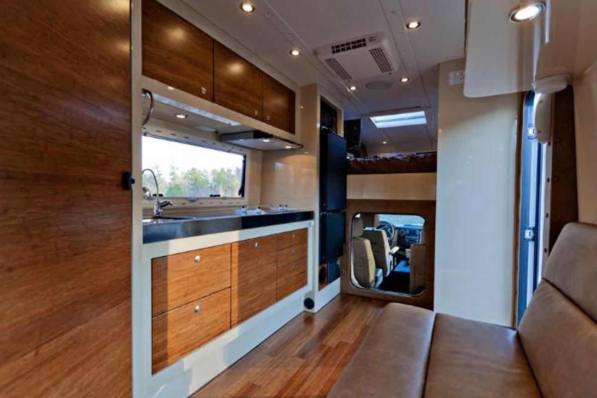 The interior is defined by bamboo and Corian