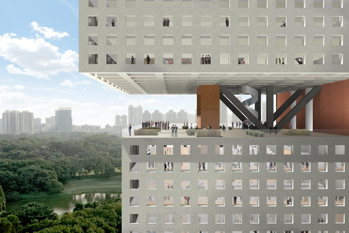 The Essence Financial Building in Shenzhen will have no exterior walls in its middle floor, to create a large viewing deck, and the elevators will be located on the side instead of the center to allow for more creative office designs