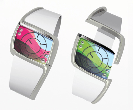 The StressWatch changes colors and patterns to warn of the wearer's stress levels in real time