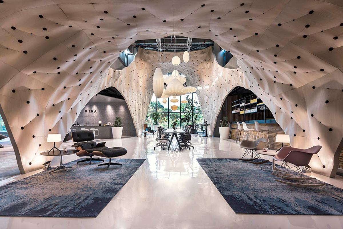 The Fabricwood installation by Produce Workshop for designer furniture store Xtra in Singapore, was named the World Interior of the Year at the 2017 Inside Festival